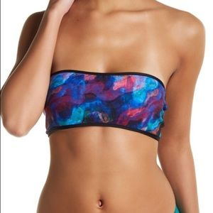 Mia Marcelle Watercolor Bandeau Bikini Top Medium